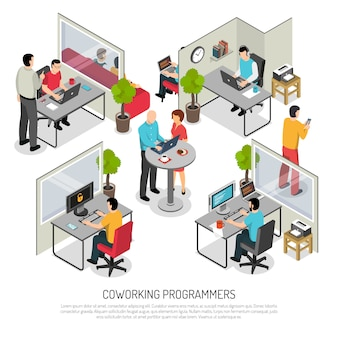 Programmers coworking space isometric template