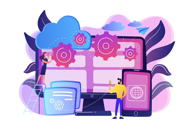 Programmers develop program for platforms. cross-platform programming, cross-platform development and structure concept on white background. bright vibrant violet  isolated illustration