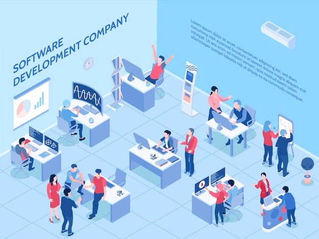Программисты компании-разработчика программного обеспечения при работе в офисе изометрической горизонтали