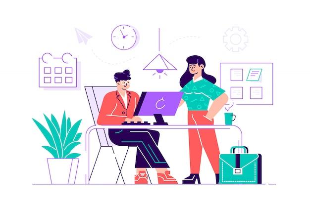 Программисты или кодеры работают вместе. разработка и тестирование переднего и внутреннего программного обеспечения, программирование или кодирование программ. разговор между коллегами на работе. плоский стиль иллюстрации