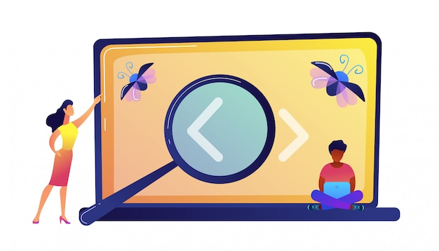 Programmers searching for a bug on laptop screen with magnifier vector illustration.