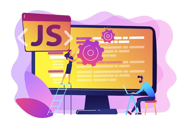 Programmers using javascript programming language on computer, tiny people. javascript language, javascript engine, js web development concept. bright vibrant violet  isolated illustration