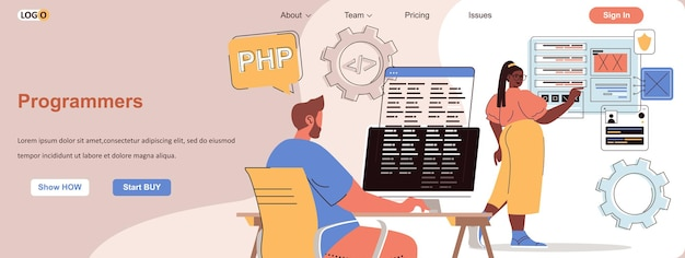 Programmers web concept developers program create applications and software