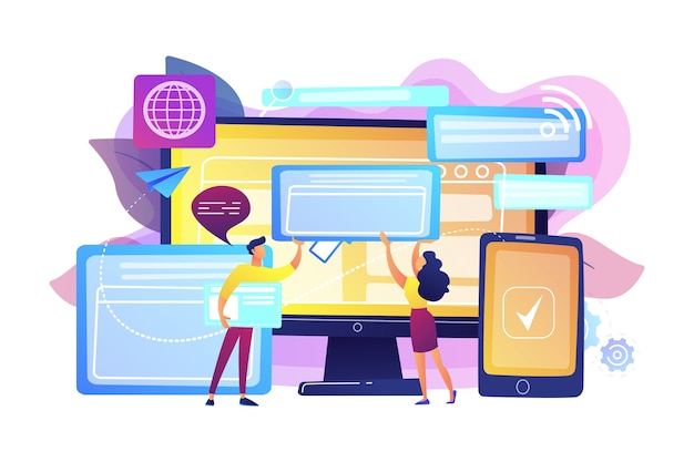 Programmers with browser windows and pc and tablet. cross-browser compatibility, cross-browser and browser compatible concept on white background. bright vibrant violet  isolated illustration