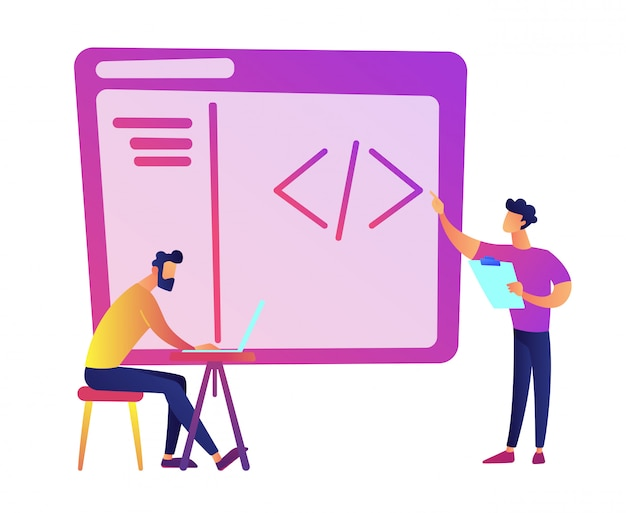 Programmers with laptop coding vector illustration.