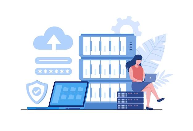 코드 및 빅 데이터 작업을 하는 노트북을 사용하는 프로그래머. 소프트웨어 개발, 데이터 처리 및 분석, 데이터 응용 프로그램 및 관리 개념. 평면 벡터 일러스트 레이 션