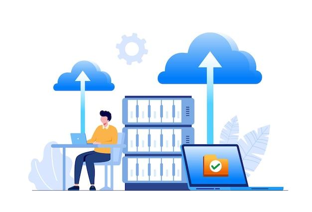 コードとビッグデータに取り組んでいるラップトップを持つプログラマー。ソフトウェア開発、データ処理と分析、データアプリケーションと管理の概念。フラットベクトル図