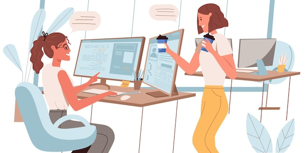 Programmers working concept in flat design. women developers work in office, discuss te project, drink coffee in office. employee workplace, creates software and apps people scene. vector illustration