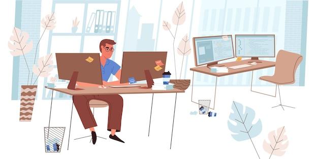 평면 디자인의 프로그래머 작업 개념. 개발자는 사무실의 컴퓨터에서 작업하는 소프트웨어, 코딩, 테스트 및 최적화 프로그램을 만듭니다. 직원 직장 사람들 장면입니다. 벡터 일러스트 레이 션