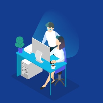 사무실 컴퓨터에서 작업하는 프로그래머. 남자는 여자를 돕습니다. 비즈니스 팀 브레인 스토밍. 아이소 메트릭 그림