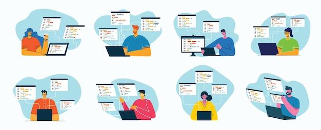Программирование и кодирование плоский дизайн иллюстрации концепции