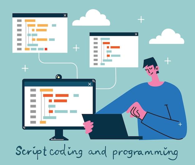 プログラミングとコーディングの図