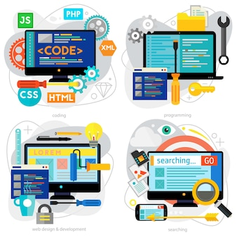 프로그래밍 및 코딩, 스크립팅 및 웹 사이트 개발, 웹 디자인 개념. 수평 배너