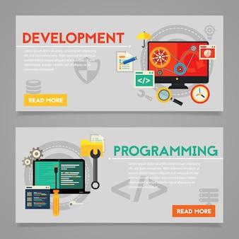 프로그래밍 및 코딩, 스크립팅, 그래픽 및 웹 디자인, 웹 사이트 개발 개념. 수평 배너