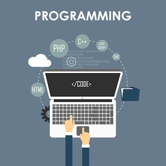 プログラミングとコーディング、ウェブサイト開発、ウェブデザイン。フラットベクトルイラスト