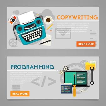프로그래밍 및 카피 라이팅, 웹 사이트 개발 및 바이러스 성 마케팅 개념. 수평 배너
