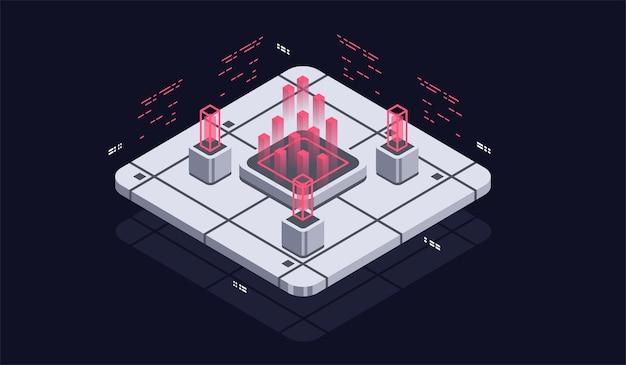 Программирование и разработка программного обеспечения изометрическая иллюстрация