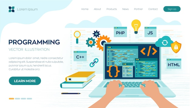 Programming banner, coding, best programming languages. development and software concept.