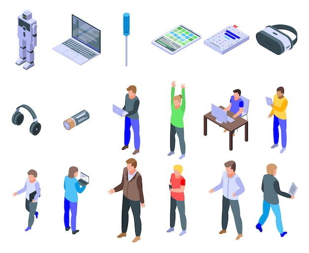 Programming for children icons set, isometric style