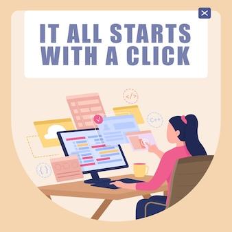 プログラミングクラスのソーシャルメディアのポストモックアップ。それはすべてクリックフレーズから始まります。 webバナーデザインテンプレート。ブースター、碑文のあるコンテンツレイアウト。ポスター、印刷広告、フラットなイラスト