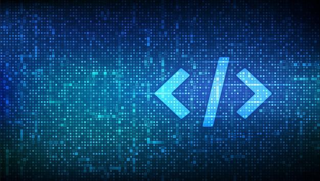 プログラミングコード。コーディングまたはハッカーの背景。バイナリコードで作られたプログラミングコードアイコン。