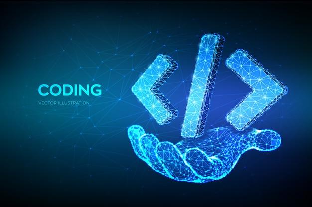 プログラミングコードアイコン。手に3 d低ポリゴンの抽象的なプログラミングコードシンボル。コーディングまたはハッカーの背景。