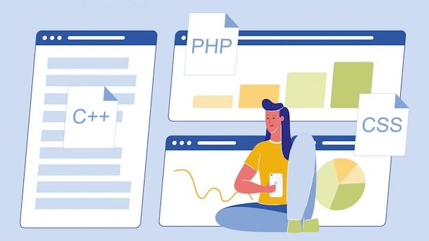 Programming, coding cartoon vector illustration