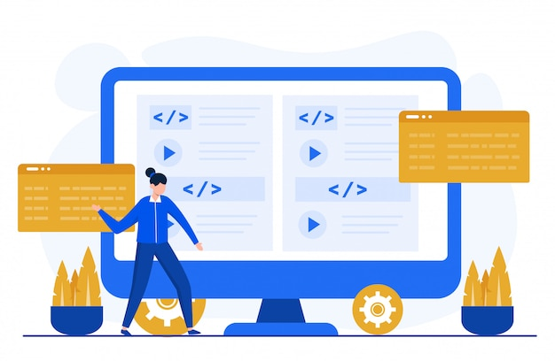 Programming or coding concept illustration for landing page template