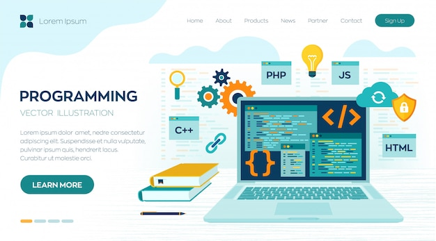 Programming coding. development and software concept. workplace and working on laptop landing page