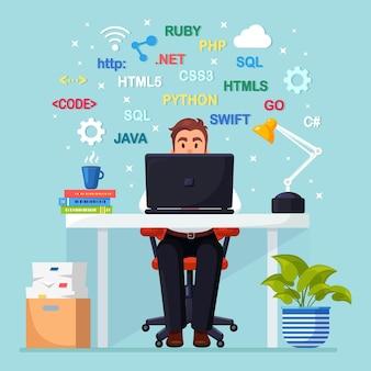 Программирование, кодирование. программист сидит за столом и работает. стол офисный с ноутбуком, документы