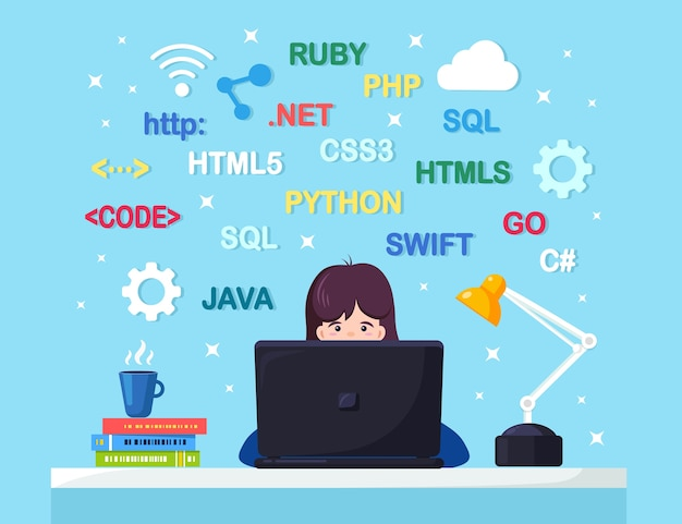 プログラミング、コーディング。机に座って働いているプログラマー。ノートパソコン、ドキュメント、ランプ、コーヒーのオフィステーブル。