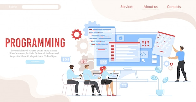 Programming and coding service flat landing page