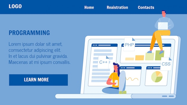 Programming, coding vector landing page template