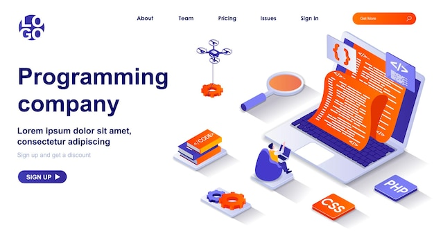 Programming company 3d isometric landing page with people characters