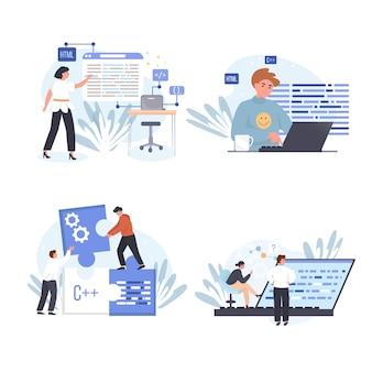 Набор сцен концепции компании программирования