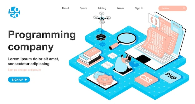Programming company isometric concept in 3d design for landing page