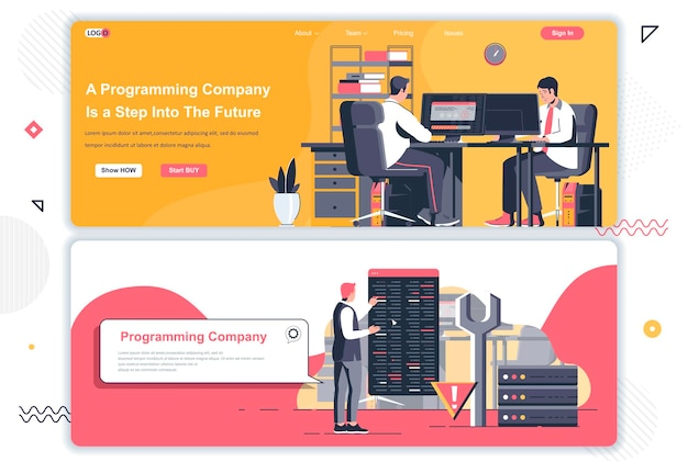 Programming company landing pages