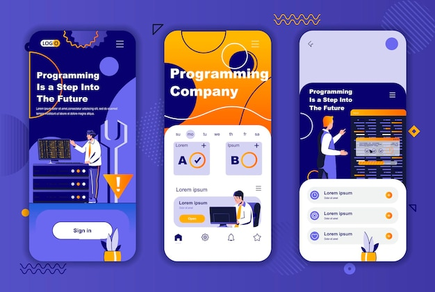Шаблон экранов мобильного приложения компании-программиста для историй социальных сетей