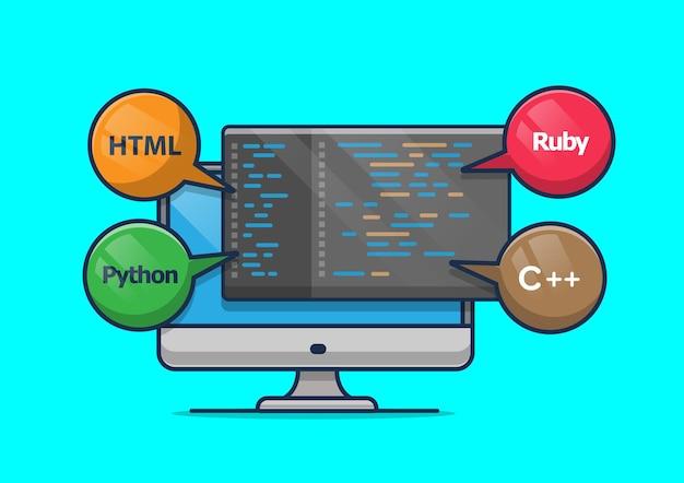 Programming on computer illustration