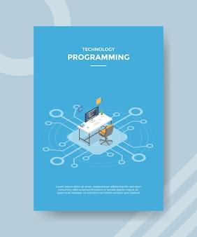 テンプレートバナーとアイソメトリックスタイルのベクトルとチラシのプログラミングの概念