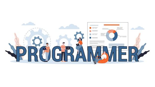 プログラミングの概念。コンピューター、コーディング、およびwebページの開発に取り組むアイデア。図