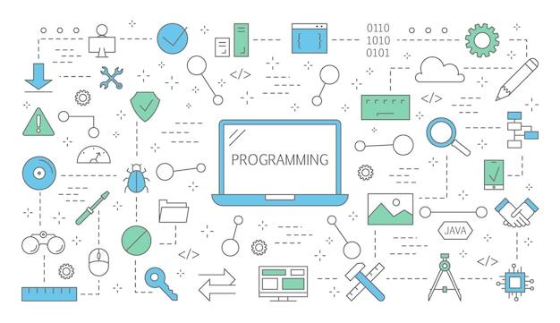 プログラミングの概念。インターネット、さまざまなソフトウェアを使用して、コンピューター、コーディング、テスト、および書き込みプログラムで作業するアイデア。技術アイコンのセットです。図