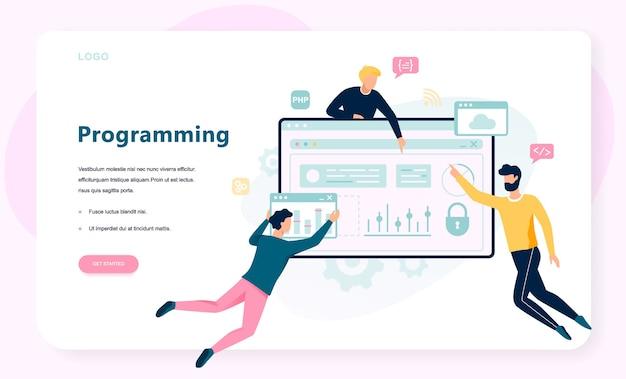 プログラミングの概念。インターネット、さまざまなソフトウェアを使用して、コンピューター、コーディング、テスト、書き込みプログラムに取り組むというアイデア。ウェブサイト開発。漫画のスタイルのイラスト