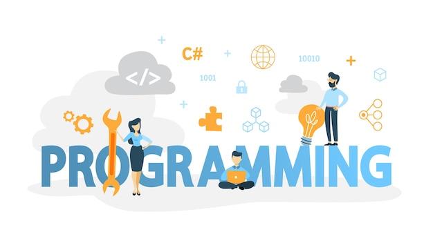 プログラミングの概念。インターネット、さまざまなソフトウェアを使用して、コンピューター、コーディング、テスト、および書き込みプログラムで作業するアイデア。ウェブサイト開発。図
