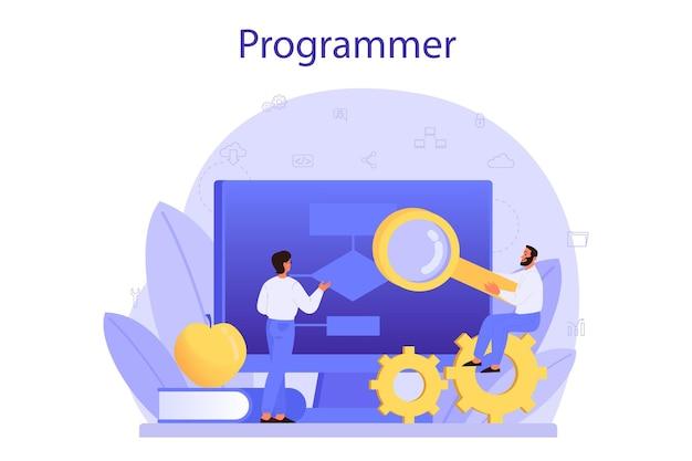 プログラミングの概念。インターネットやさまざまなソフトウェアを使用して、コンピューターで作業し、プログラムをコーディング、テスト、作成するというアイデア。ウェブサイトの開発。孤立したベクトル図
