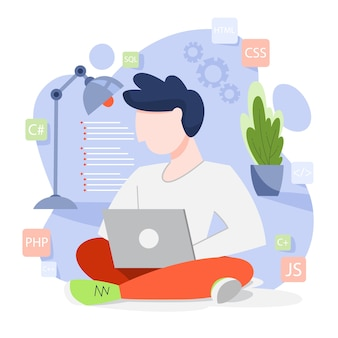 プログラミングの概念。コンピューターでの作業のアイデア