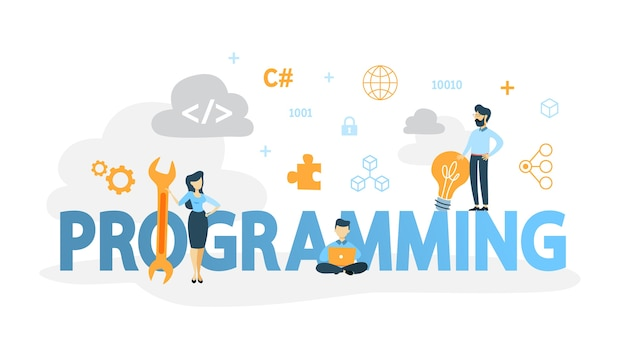 Programming concept. idea of working on the computer, coding, testing and writing program, using internet and different software. website development .   illustration