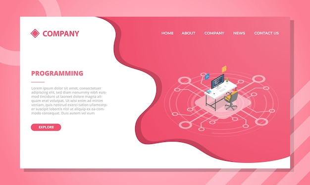Programming concept for website template or landing homepage with isometric style vector