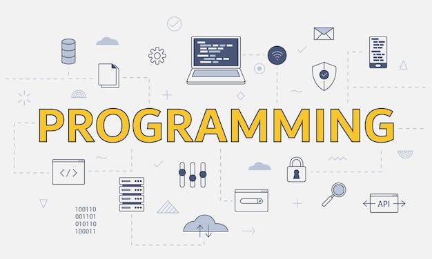 Концепция программирования с набором иконок с большим словом или текстом на центральной векторной иллюстрации