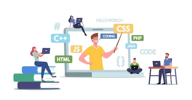 プログラミングコースの概念。コーチと一緒に巨大なラップトップで小さな学生のキャラクターがオンラインウェビナー中にプログラマークラスを説明します。ソフトウェア開発の勉強。漫画の人々のベクトル図